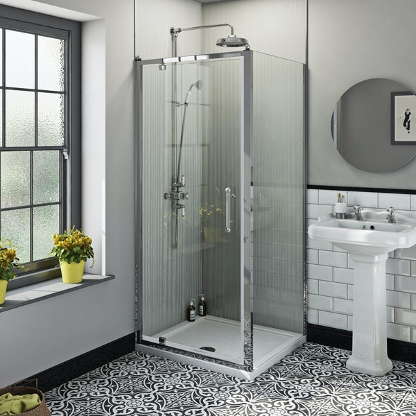 The Bath Co. Winchester traditional 6mm rectangular pivot shower enclosure