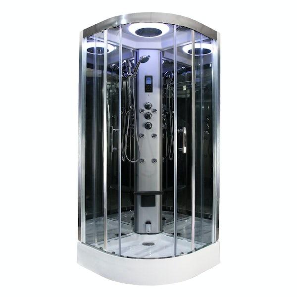 Insignia Premium quadrant steam shower cabin with clear glass
