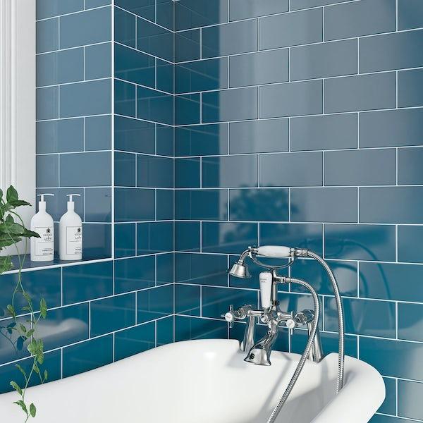British Ceramic Tile Metro Flat Navy Blue Gloss 100mm X 200mm