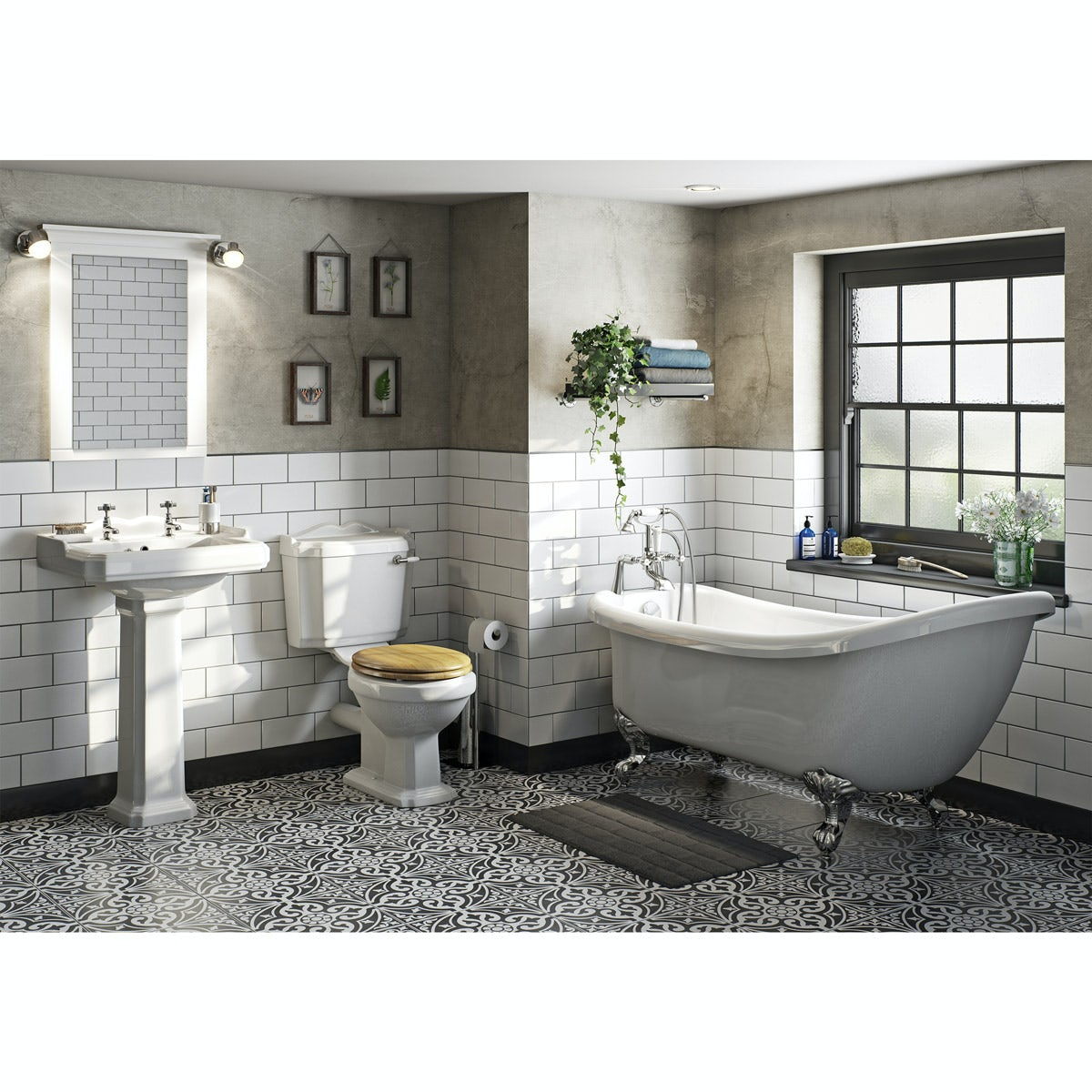The Bath Co Winchester Oak Effect Bathroom Suite With