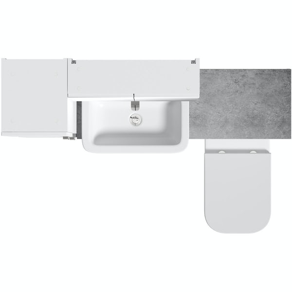 Mode Nouvel gloss white tall fitted furniture & mirror combination with pebble grey worktop