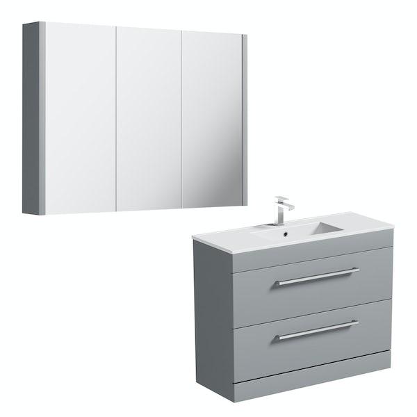 Orchard Derwent stone grey vanity drawer unit 1000mm and mirror
