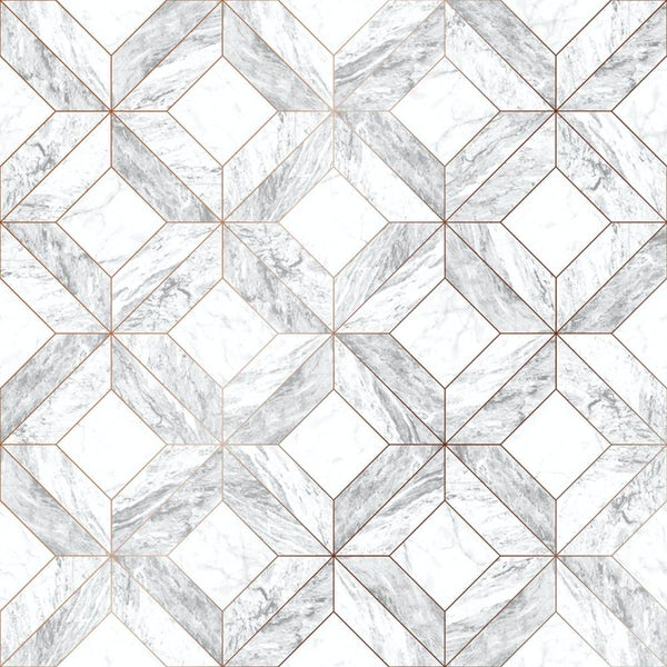 Graham & Brown Contour marble marquetry grey wallpaper