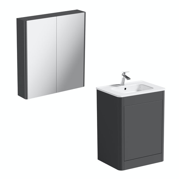 Mode Carter slate vanity unit 600mm and mirror