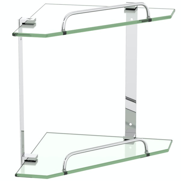 Orchard Options double square corner glass shelf