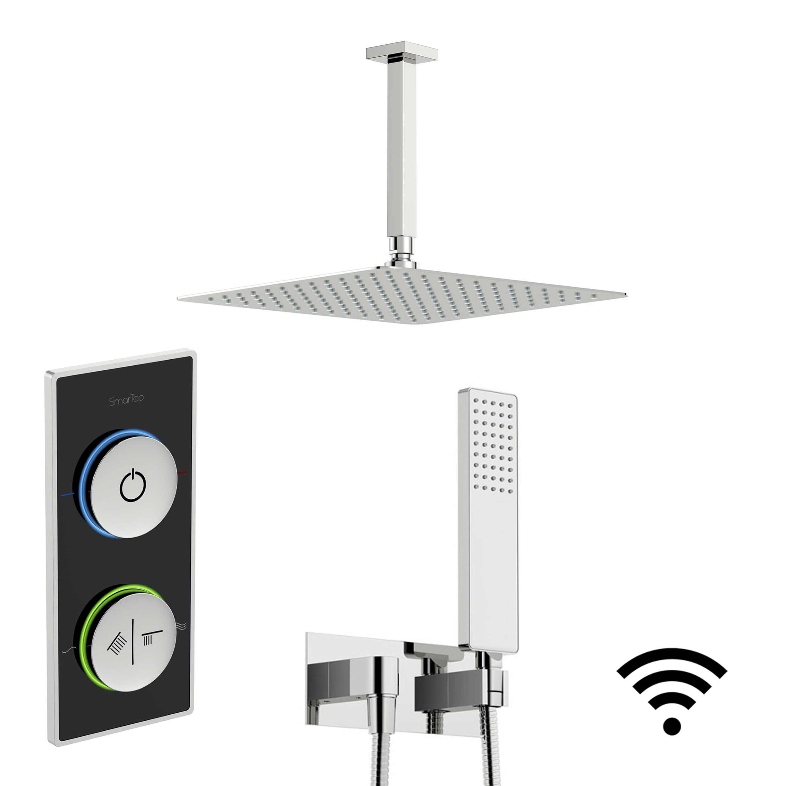 SmarTap black smart shower system with square wall outlet set