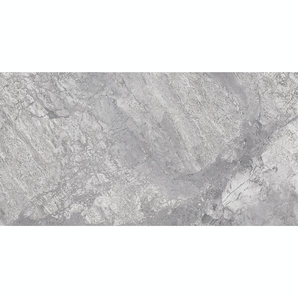 Fusion grey marble effect matt wall and floor tile 300mm x 600mm