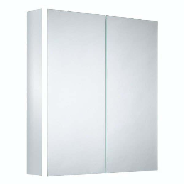 Mode Purcell Bluetooth diffused LED illuminated mirror cabinet 700 x 664mm with demister & charging socket