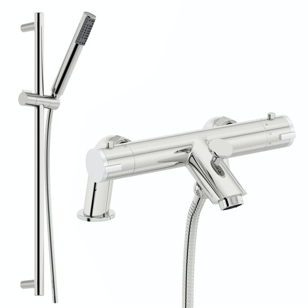 Orchard Wall or deck mount thermostatic bath shower mixer tap with slider rail
