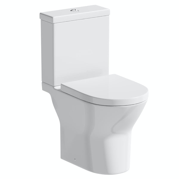 Orchard Derwent round rimless open back close coupled toilet with soft close seat