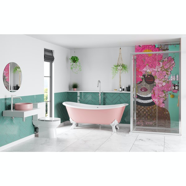 Louise Dear Kiss Kiss Bam Bam Light Pink bathroom suite with freestanding bath and enclosure