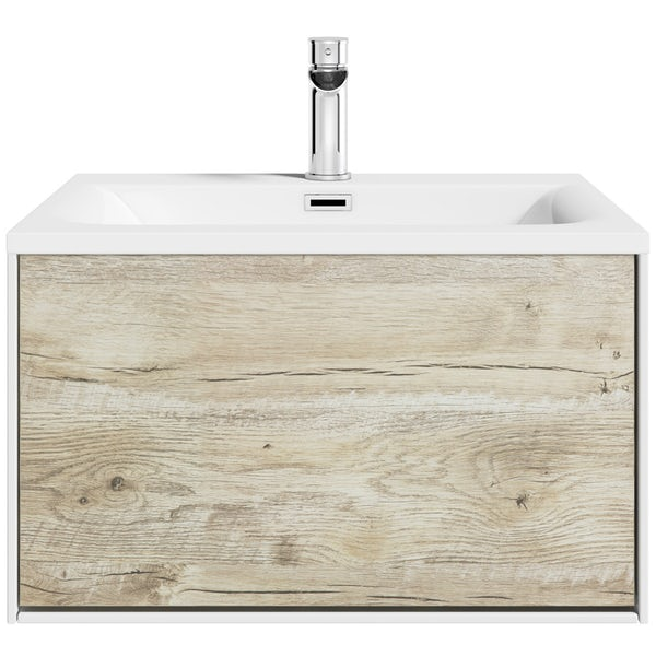 Mode Burton white & rustic oak wall hung vanity unit and basin 600mm with tap