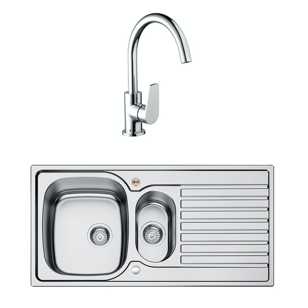 Bristan Inox easyfit universal sink 1.5 bowl stainless steel with raspberry tap