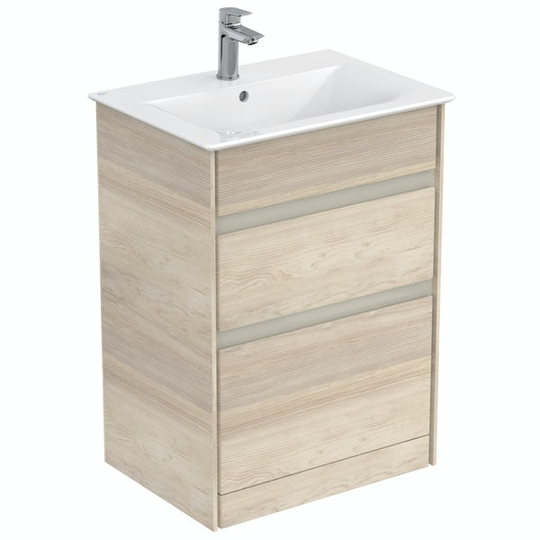 Ideal Standard Concept Air wood light brown vanity unit and basin 600mm