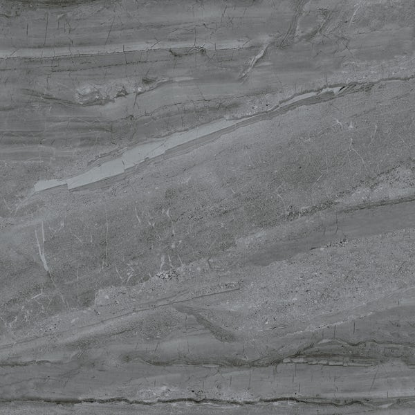 Comet dark grey marble effect gloss wall and floor tile 800mm x 800mm
