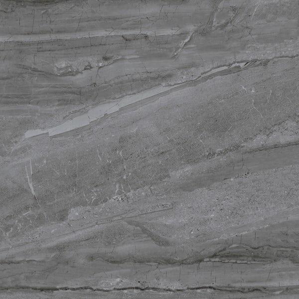 Comet dark grey marble effect gloss wall and floor tile 800mm x 800mm