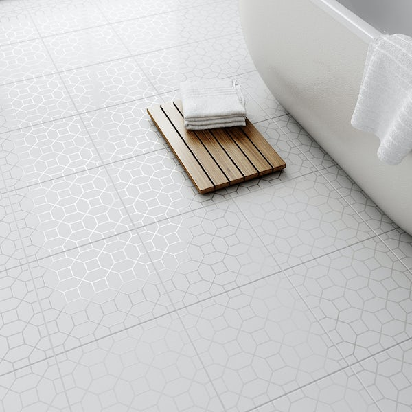 Laura Ashley Marise white floor tile 331mm x 331mm