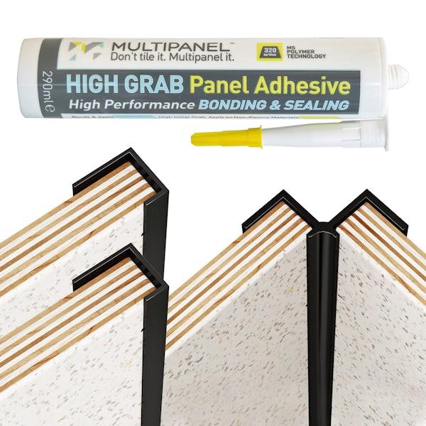 Multipanel Classic black kit for corner installation