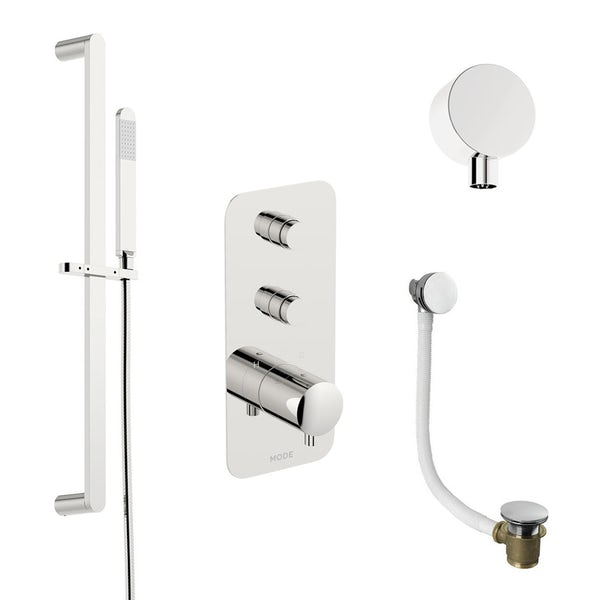 Mode Foster thermostatic push button shower valve with slider kit and bath filler waste
