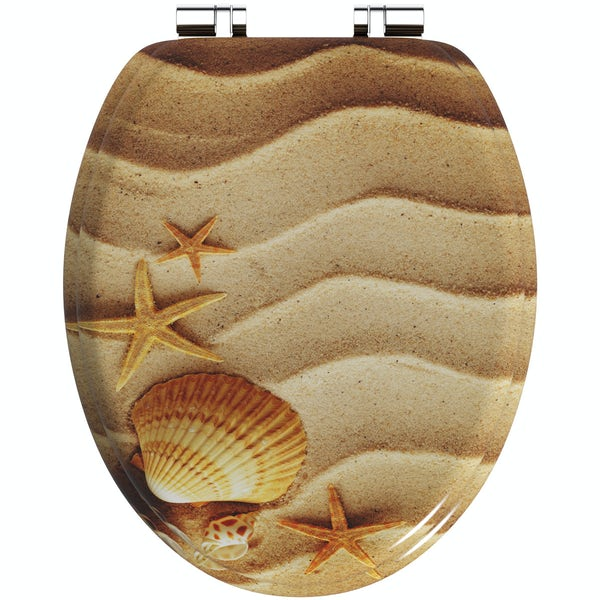 Sandy shells acrylic toilet seat with soft close quick release hinge