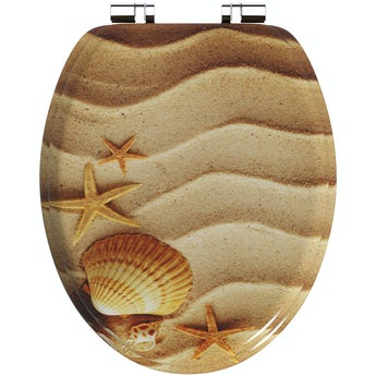 Accents Sandy shells acrylic toilet seat with soft close quick release hinge
