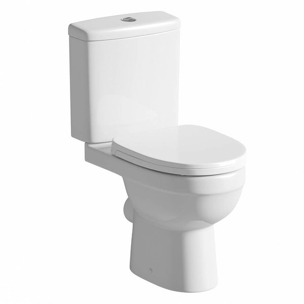 Eden close coupled toilet with soft close toilet seat with pan connector