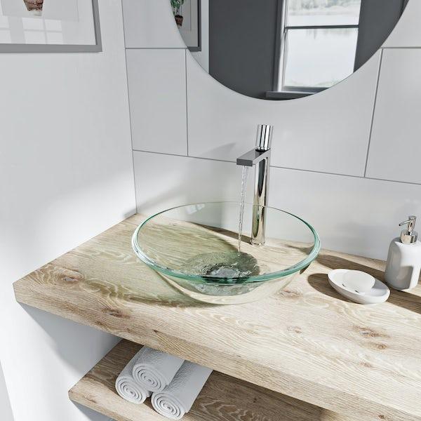 Mode Mackintosh clear glass countertop basin 420mm