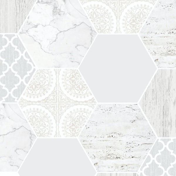 Graham & Brown Contour hexagonal marble grey wallpaper