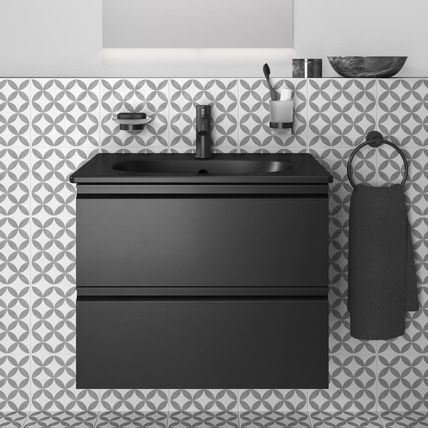 Ideal Standard Tesi silk black wall hung vanity unit and basin 600mm with tap & accessories