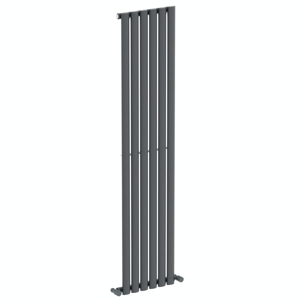 Mode Tate anthracite grey single vertical radiator 1600 x 360