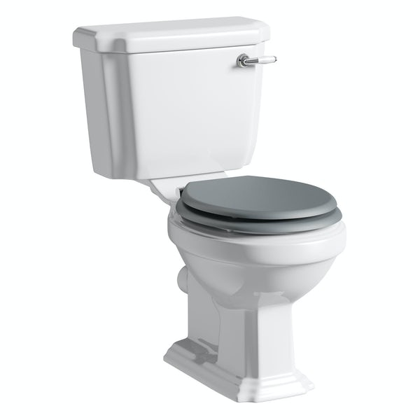 Dulwich close coupled toilet inc grey soft close seat with pan connector