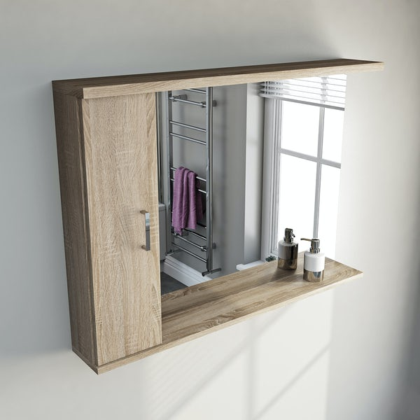 Sienna Oak 105 Mirror with lights