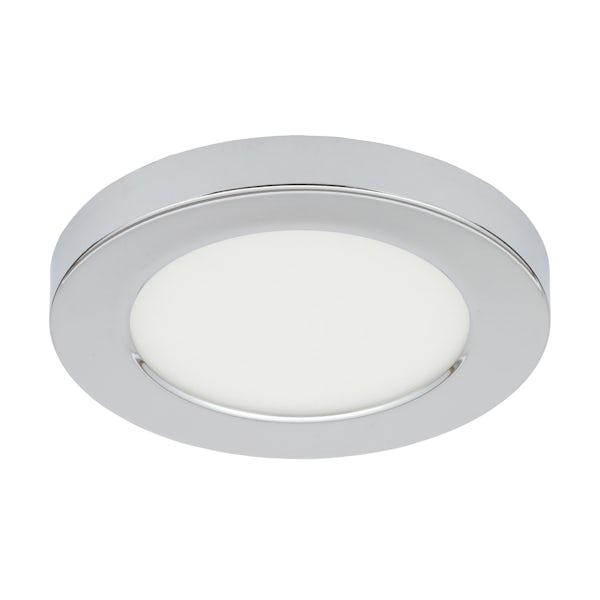Forum Theta chrome small round flush bathroom ceiling light