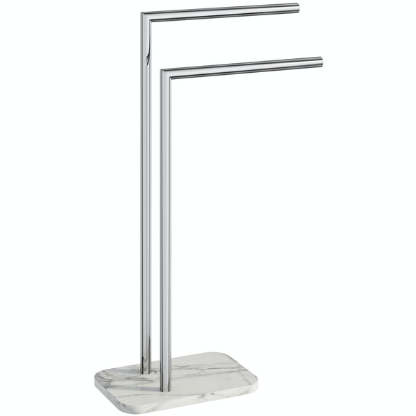 Showerdrape Athena marble double towel stand