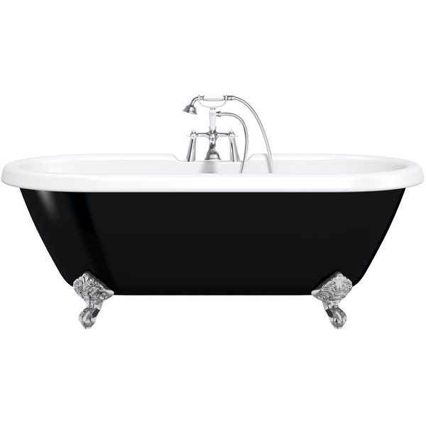 The Bath Co. Dulwich traditional double ended black roll top bath with ball feet