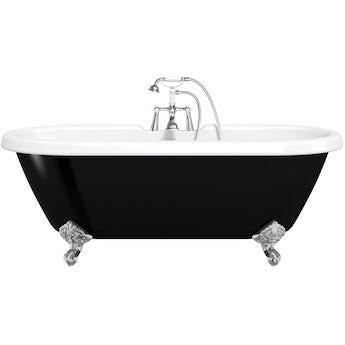The Bath Co. Dulwich black roll top freestanding bath with chrome claw feet 1700 x 740