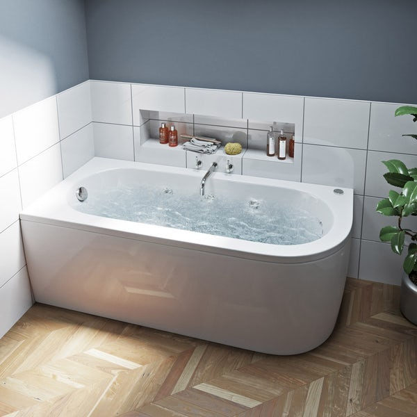 Mode Cayman left handed 6 jet whirlpool bath 1700 x 750