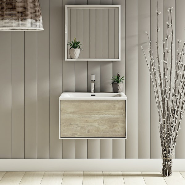 Mode Burton white & rustic oak wall hung vanity unit 600mm