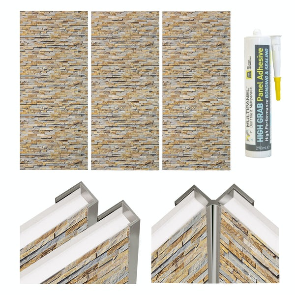 Multipanel Economy Rustic Brick Shower Wall Panel Installation Set For Enclosures Over 1000 X