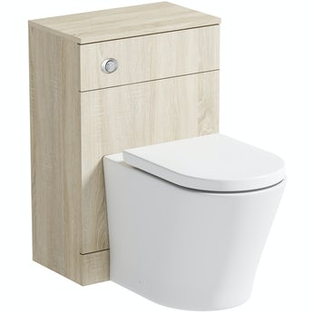 Orchard Wye oak back to wall unit and contemporary toilet with soft close seat