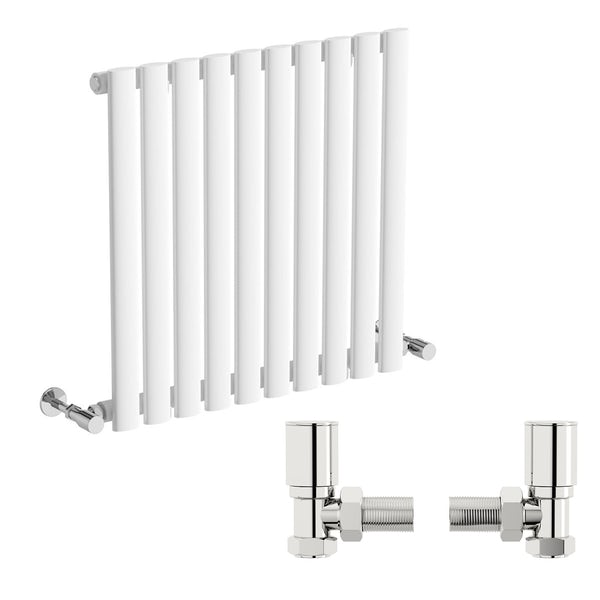 Mode Tate white single horizontal radiator 600 x 600 with angled valves
