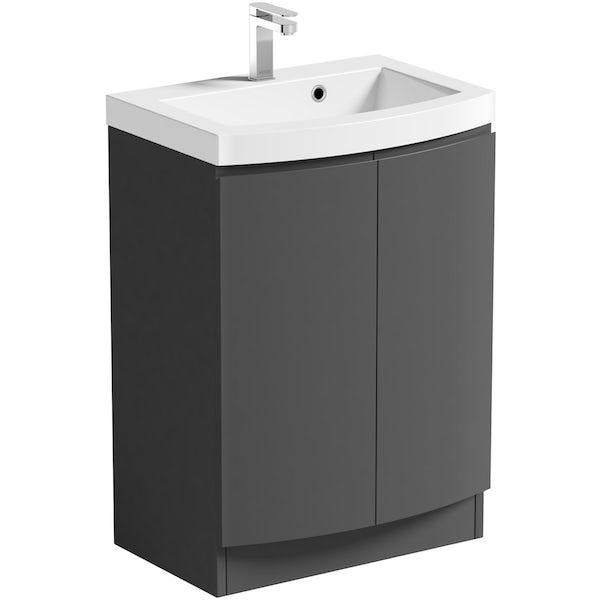 Mode Harrison slate gloss grey floorstanding vanity door unit and basin 600mm with tap