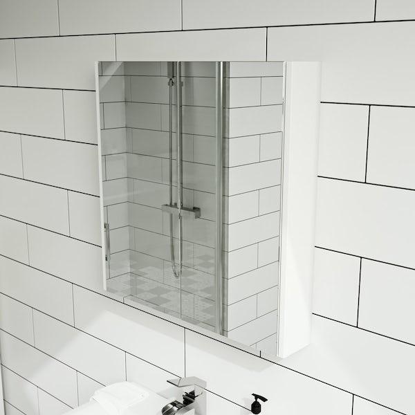 White 2 Door Mirror Cabinet