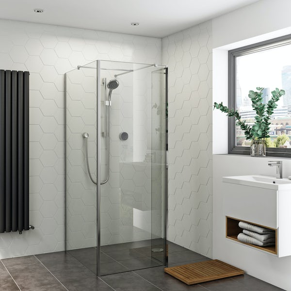 Orchard 8mm wet room corner glass panel and return panel pack