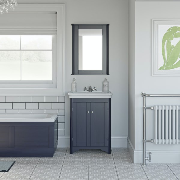 The Bath Co. Beaumont sapphire blue floorstanding vanity unit and basin 630mm
