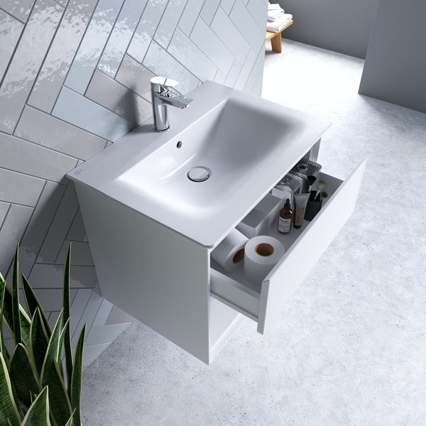 Ideal Standard Concept Air gloss and matt white wall hung open vanity unit and basin 600mm