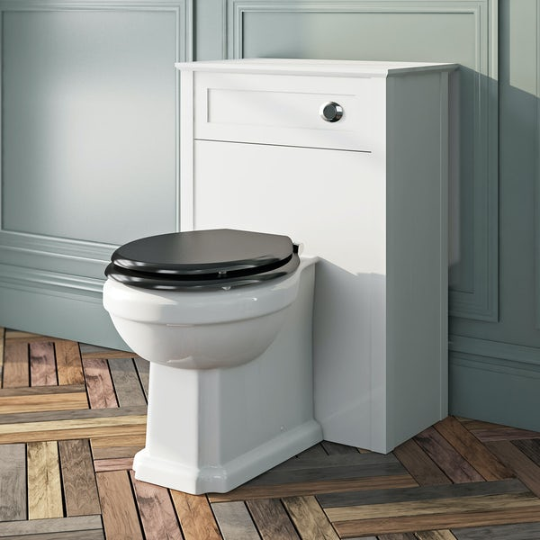The Bath Co. Camberley back to wall toilet with black wooden soft close seat