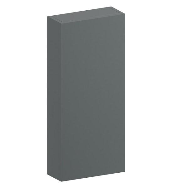 Slimline slate gloss wall hung cabinet 650 x 300mm