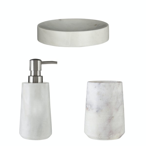 Accents White marble 3 piece bathroom accessory set