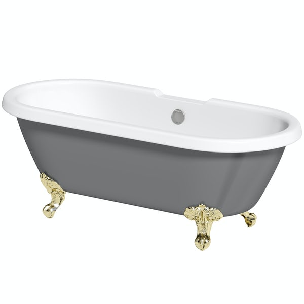 The Bath Co. Dulwich grey roll top freestanding bath with gold claw feet 1695 x 740